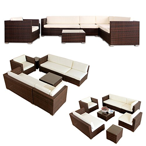 napo polyrattan braun gartenm bel rattan lounge gartenset. Black Bedroom Furniture Sets. Home Design Ideas