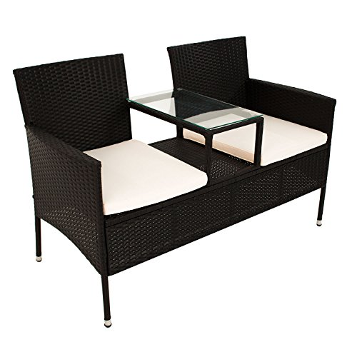 polyrattan rattan gartenbank garten tete tete bank sitzbank 2 sitzer mitteltisch 133 cm 200108. Black Bedroom Furniture Sets. Home Design Ideas