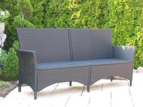 rattan gartenbank 200cm schwarz polyrattan m bel24. Black Bedroom Furniture Sets. Home Design Ideas