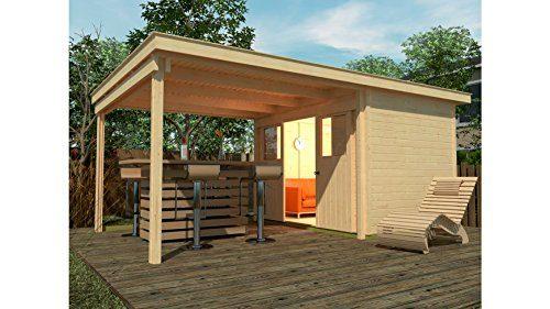 Weka Gartenhaus, Lounge-Haus 225 A Größe 1, 21 mm, Schiebetür, 300 cm, ohne RW, braun, 528x325x223 cm, 225.2130.10201