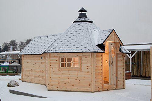 Wolff Finnhaus Grillkota 9 de Luxe mit Saunaanbau und schwarzen Schindeln