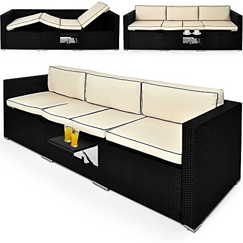 2in1 poly rattan lounge liege 6 fach verstellbar mit integriertem ausklappbarem tisch und 20cm. Black Bedroom Furniture Sets. Home Design Ideas