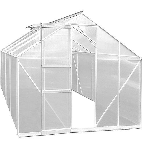 Gewächshaus Aluminium 11,38m³ 280x195cm 2 Fenster Treibhaus Gartenhaus Frühbeet Pflanzenhaus