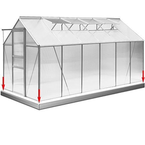 Gewächshaus Aluminium 11,73m³ mit Stahlfundament Treibhaus Gartenhaus Frühbeet Fundament