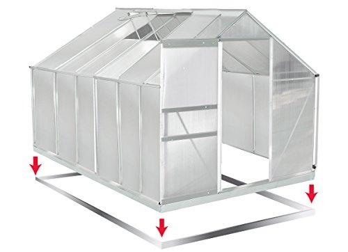 Gewächshaus Aluminium mit Stahlfundament 11,7m³ Treibhaus Glashaus Pflanzenhaus Tomatenhaus 6mm Platten L 375 x B 191 X H195cm