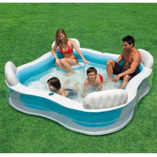 INTEX Familien-Swimmcenter, 229 x 229 cm, Ablaßventil, 4 integrierte Sitzbänke // Familienpool Swimming Pool Planschbecken Schwimmbecken Schwimmbad