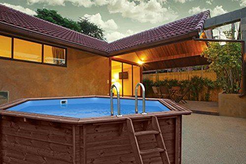 Interline 50700169 Bali Auf-und Erdeinbau Holzwand Rund Pool 3,55m x 1,16m ohne Sandfilter