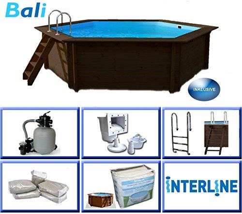 Interline 50700208 Bali Auf-und Erdeinbau Holzwand Rund Pool 4,34m x 1,16m, Sandfilter 4m³/h