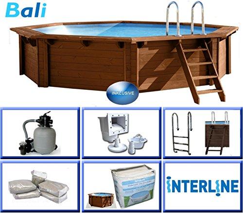 Interline 50700220 Bali Auf-und Erdeinbau Holzwand Rund Pool 5,30m x 1,36m, Sandfilter 6m³/h
