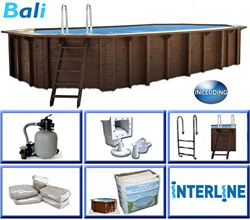 Interline 50700240 Bali Auf-und Erdeinbau Holzwand oval Pool 6,40m x 4,00m x 1,36m, Sandfilter 6m³/h