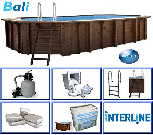 Interline 50700250 Bali Auf-und Erdeinbau Holzwand oval Pool 8,40m x 4,90m x 1,36m, Sandfilter 8m³/h