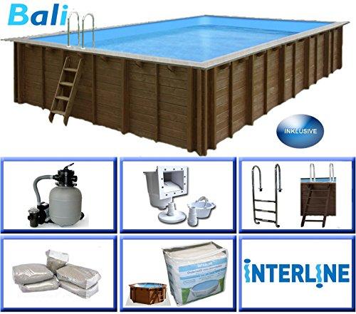 Interline 50700255 Bali Auf-und Erdeinbau Holzwand rechteck Pool 6,00m x 4,20m x 1,31m, Sandfilter 6m³/h