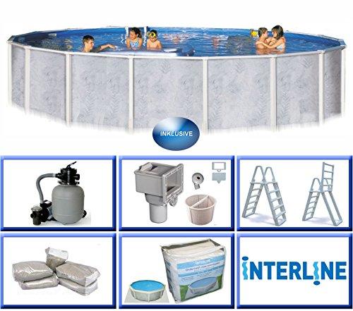 interline 55000050 diana auf und erdeinbau stahlwandpool 3 60m x 1 32m mit sandfilter set 4 0m. Black Bedroom Furniture Sets. Home Design Ideas