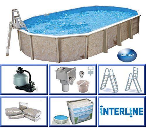Interline 55000054 Diana Auf- und Erdeinbau Stahlwandpool 7,30m x 3,60m x 1,32m mit Sandfilter Set 6,0m³/h