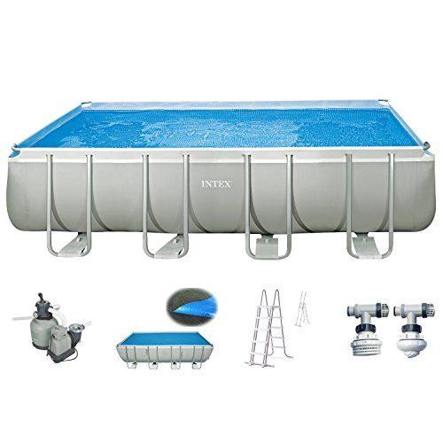 Intex Pool 549x274x132 cm Schwimmbad Stahlwand Metallrahmen mit Intex Sandfilter 4.500 l/h, Leiter, Solarfolie