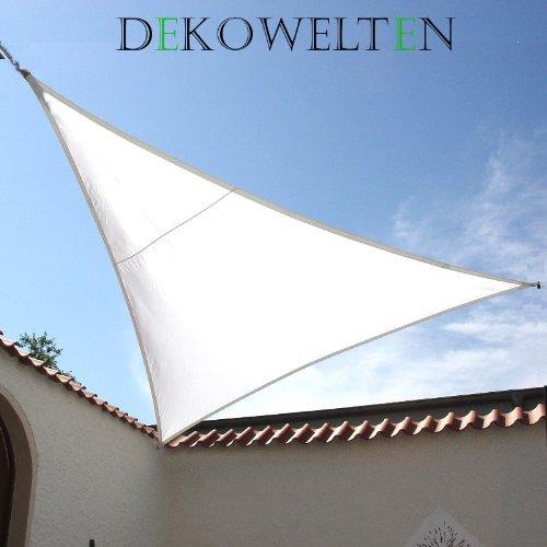 LUXUS Terrassen Sonnensegel dreieck der ExtraKlasse 4,50m weiß Regenschutz wasserdicht