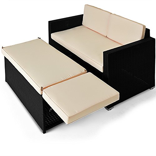 polyrattan zweisitzer sofa inkl ottomane mit stauraum sonnenliege rattanlounge 0 gartenm bel. Black Bedroom Furniture Sets. Home Design Ideas