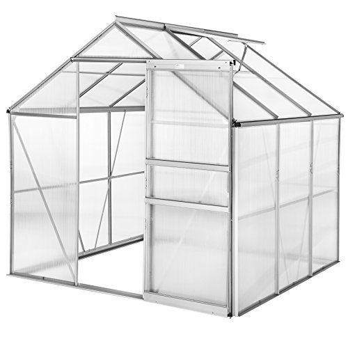 TecTake Alu Gewächshaus 5,85m³ Gartenhaus Tomaten Treibhaus Frühbeet 190x185x195 cm