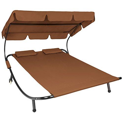 tectake sonnenliege gartenliege doppelliege mit sonnendach. Black Bedroom Furniture Sets. Home Design Ideas