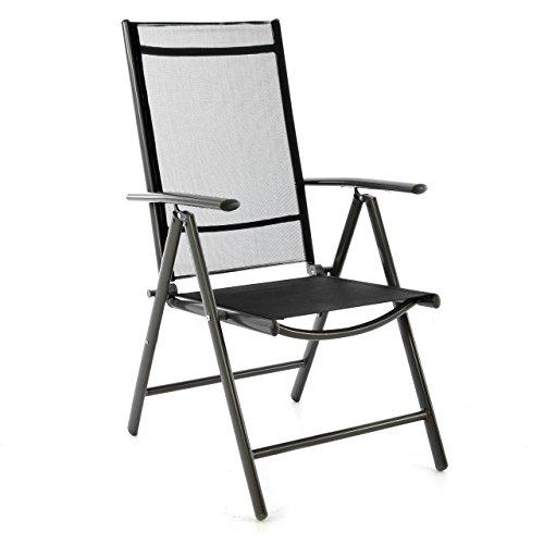 klappstuhl aluminium gartenstuhl campingstuhl verstellbar rahmen anthrazit hochlehner f r. Black Bedroom Furniture Sets. Home Design Ideas