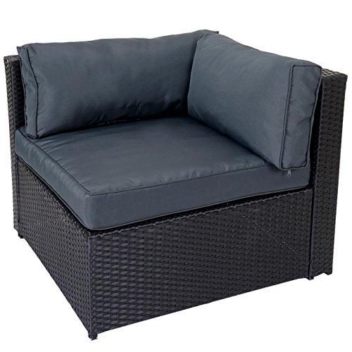 poly rattan garnitur adana gartengarnitur sitzgruppe lounge set alu schwarz kissen grau. Black Bedroom Furniture Sets. Home Design Ideas