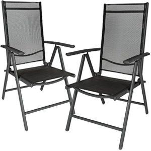 TecTake 2er Set Aluminium Klappstuhl Gartenstuhl verstellbar mit Armlehnen anthrazit/schwarz