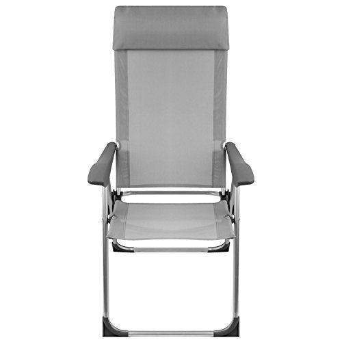 Lagerräumung - Aluminium Positionsstuhl mit Kopfteil, 2x1 Textilengewebe, Lehne 5-fach verstellbar, faltbar, Silber/Grau, Gartenstuhl Faltstuhl Strandstuhl Campingstuhl