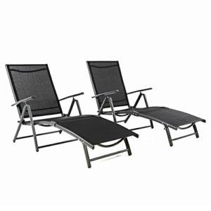 2er set klappliege alu textilene sonnenliege liegestuhl campingliege schwarz klappbar hohe lehne. Black Bedroom Furniture Sets. Home Design Ideas