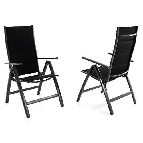 2er set klappstuhl deluxe alu gepolstert schwarze textilene gartenstuhl relaxstuhl campingstuhl. Black Bedroom Furniture Sets. Home Design Ideas