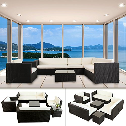 napoli polyrattan schwarz gartenm bel rattan lounge gartenset sitzgruppe alu m bel24 gartenm bel. Black Bedroom Furniture Sets. Home Design Ideas