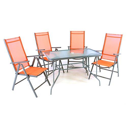 5er Set Sitzgarnitur Sitzgruppe Gartengarnitur Glastisch eckig orange Balkon Glastisch 1 Tisch 4 Stühle robust wetterfest