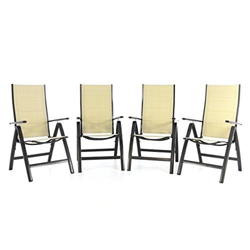 4er set klappstuhl deluxe alu gepolstert textilene creme. Black Bedroom Furniture Sets. Home Design Ideas
