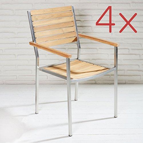 4er set stapelbarer armlehnstuhl aus fsc zertifiziertem teakholz und edelstahl mit armlehnen f r. Black Bedroom Furniture Sets. Home Design Ideas
