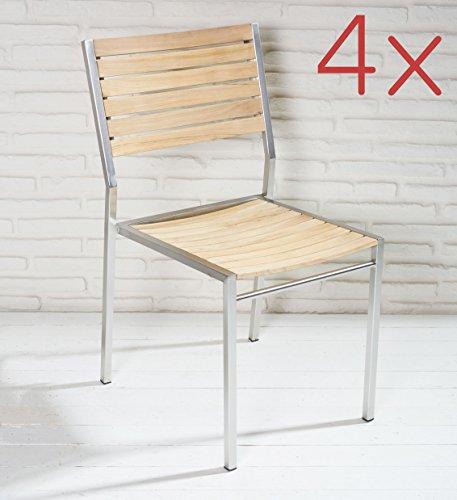4er set stapelbarer gartenstuhl aus fsc zertifiziertem teakholz und edelstahl f r garten. Black Bedroom Furniture Sets. Home Design Ideas