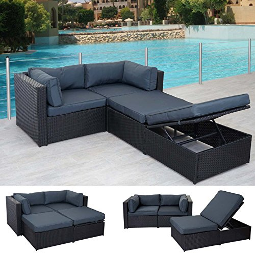 poly rattan garnitur adana gartengarnitur sitzgruppe lounge set alu schwarz kissen grau. Black Bedroom Furniture Sets. Home Design Ideas