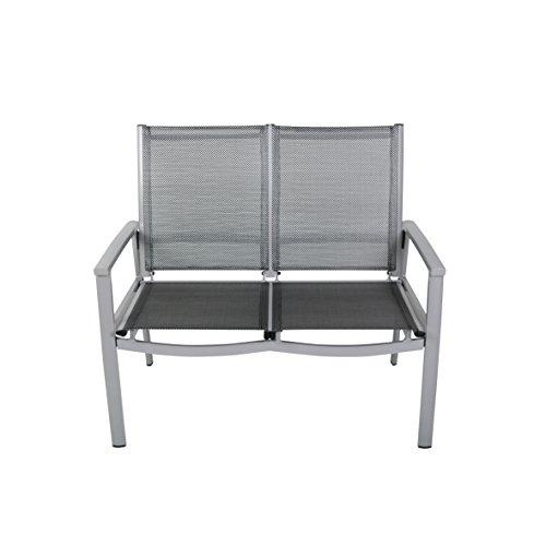greemozion 2er Gartenbank 120267, Balkonbank aus schwarzem Textilene und silbernem Aluminiumgestell, die Bank ist für 2 Personen geeignet, wetterfeste, UV-beständige Sitzmöglichkeit, die Outdoorbank kann bis zu 200 kg belastet werden, die Maße der Sitzbank betragen ca. 100 x 63 x 96 cm