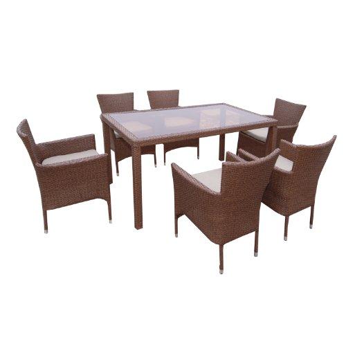ambientehome polyrattan sitzgruppe essgruppe sessel stapelbar meluco tisch ca 150 x 90 cm 7. Black Bedroom Furniture Sets. Home Design Ideas