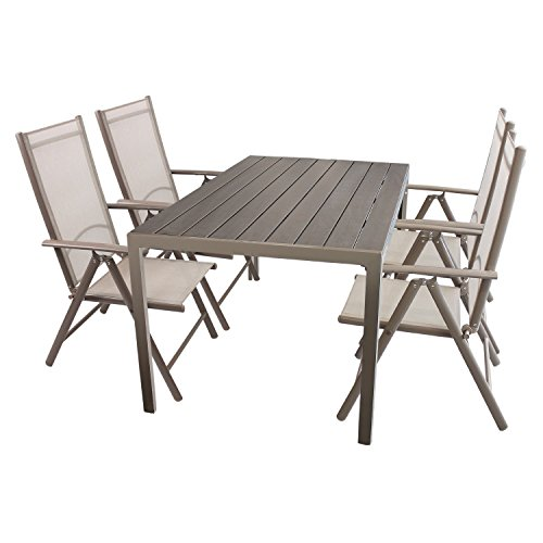 5tlg gartenm bel set sitzgruppe aluminium polywood non wood gartentisch 150x90cm 4x. Black Bedroom Furniture Sets. Home Design Ideas