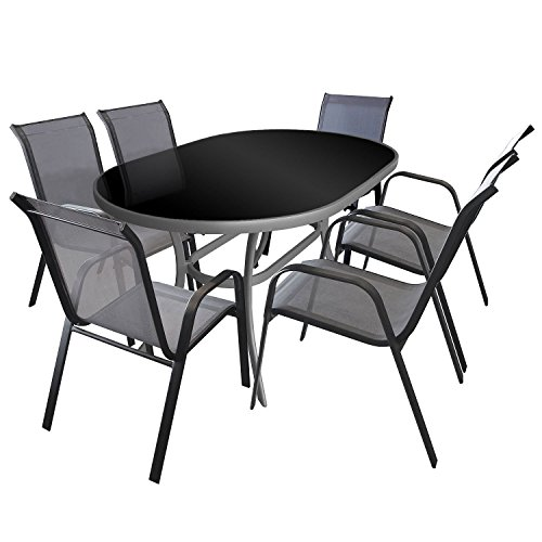 7tlg gartenmbel set gartengarnitur sitzgruppe aluminium glastisch schwarze tischglasplatte. Black Bedroom Furniture Sets. Home Design Ideas
