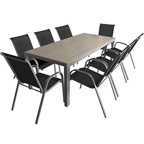9 teiliges gartenm bel set aluminium polywood gartentisch 205x90cm stapelbare - Polywood gartenmobel ...