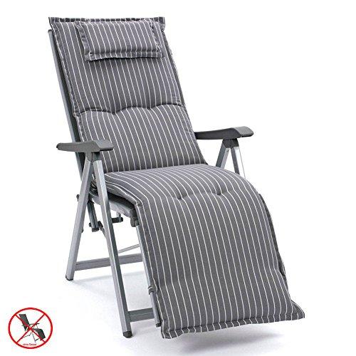 auflagen f r relaxliegen in grau gestreift mit kopfpolster. Black Bedroom Furniture Sets. Home Design Ideas