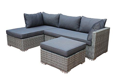 loungeset viletta aluminium polyrattan hellgrau bicolor mit regenfesten polstern dunkelgrau. Black Bedroom Furniture Sets. Home Design Ideas