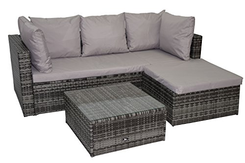 polyrattan lounge gartenm bel set garnitur sitzgruppe lounge h 003 grau m bel24 gartenm bel. Black Bedroom Furniture Sets. Home Design Ideas