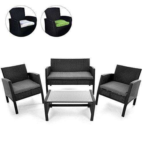 rattan set 4tlg mit glastisch garnitur gartenmbel. Black Bedroom Furniture Sets. Home Design Ideas