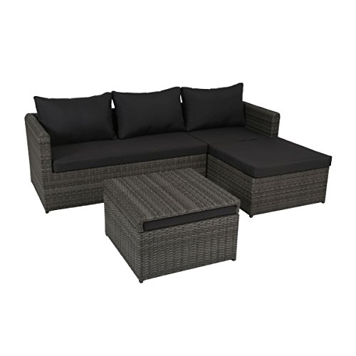 greemotion rattan lounge ibiza gartenm bel set 3 teilig aus polyrattan in grau mit auflagen in. Black Bedroom Furniture Sets. Home Design Ideas