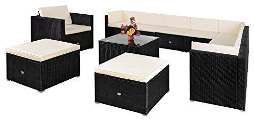 Luxus-Poly-Rattan-Lounge-Set-Creme-Schwarz-XXXL--exklusive-35-tlg-Poly-Rattan-Sitzgruppe--Einzelelemente-flexibel-kombinierbar--UV-bestndiges-Polyrattan--Sitzgarnitur-Couch-Sitzgruppe--Modellauswahl-0