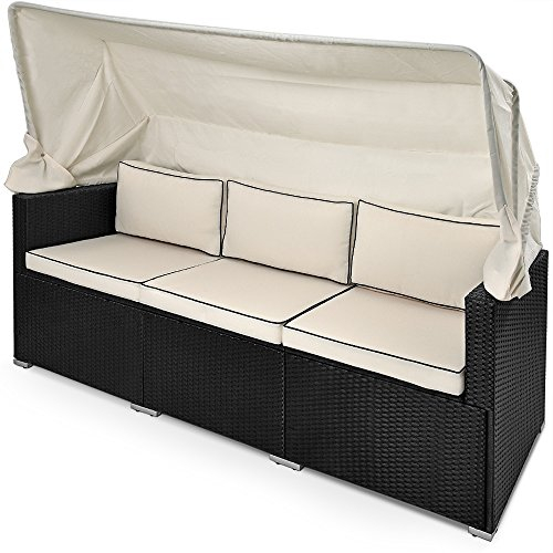 deuba poly rattan lounge liege schwarz faltbares sonnendach 7cm dicke sitzauflagen creme uv. Black Bedroom Furniture Sets. Home Design Ideas