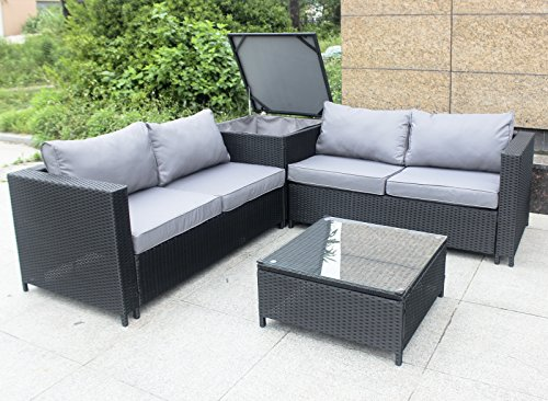 rattan polyrattan lounge sitzgruppe garnitur gartenm bel aus 4 sitze sofa aufbewahrungsbox f r. Black Bedroom Furniture Sets. Home Design Ideas