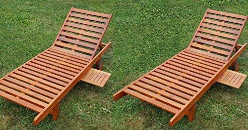 2x sonnenliege gartenliege strandliege liegestuhl holzliege holz eukalyptus hartholz wie teak. Black Bedroom Furniture Sets. Home Design Ideas