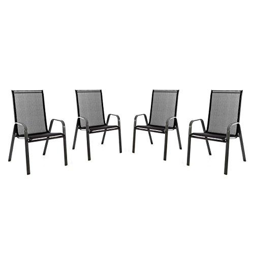 4er set stapelstuhl f r balkon terrasse garten stuhl mit for Stuhl mit armlehne schwarz